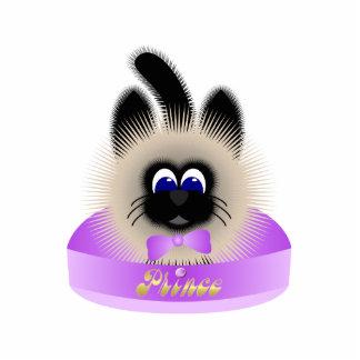 Negro y gato de Brown con el lazo púrpura pálido e Esculturas Fotográficas