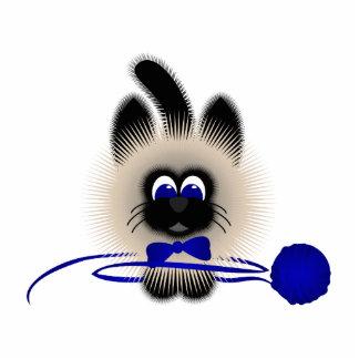 Negro y gato de Brown con el lazo y el hilado azul Esculturas Fotográficas