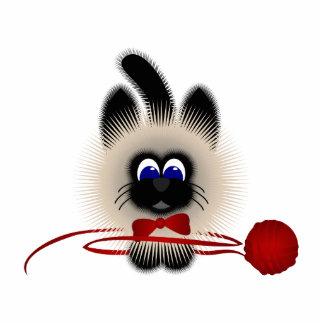 Negro y gato de Brown con el lazo y el hilado rojo Escultura Fotográfica
