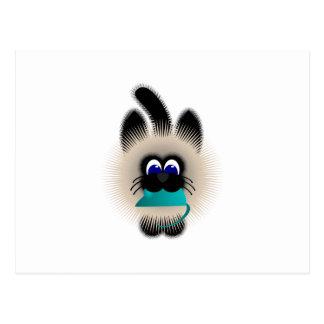 Negro y gato de Brown que lleva un ratón del trull Tarjeta Postal