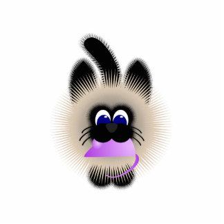 Negro y gato de Brown que lleva un ratón púrpura p Esculturas Fotograficas