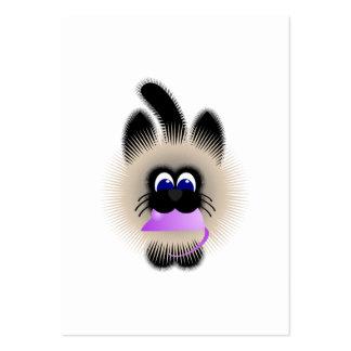 Negro y gato de Brown que lleva un ratón púrpura Tarjetas De Visita Grandes