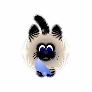 Negro y gato de Brown que sostiene un ratón azul c Esculturas Fotográficas