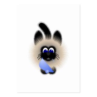 Negro y gato de Brown que sostiene un ratón azul Tarjetas De Visita Grandes
