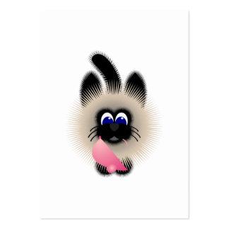 Negro y gato de Brown que sostiene un ratón rosado Tarjetas De Visita Grandes