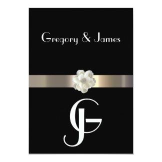 Negro y gay del oro/invitación lesbiana del boda