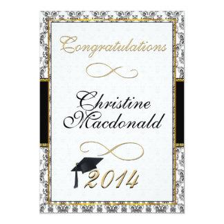 Negro y graduación adornada del damasco del oro comunicado personalizado