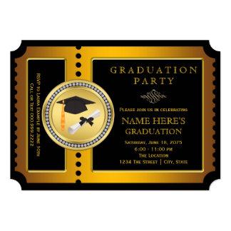 Negro y graduación de la universidad del oro invitación 12,7 x 17,8 cm