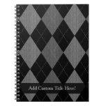 Negro y gris de carbón de leña Argyle Cuaderno
