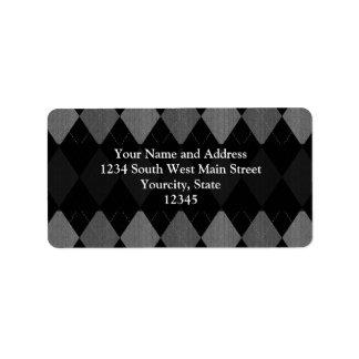 Negro y gris de carbón de leña Argyle Etiqueta De Dirección