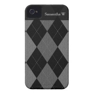 Negro y gris de carbón de leña Argyle iPhone 4 Coberturas
