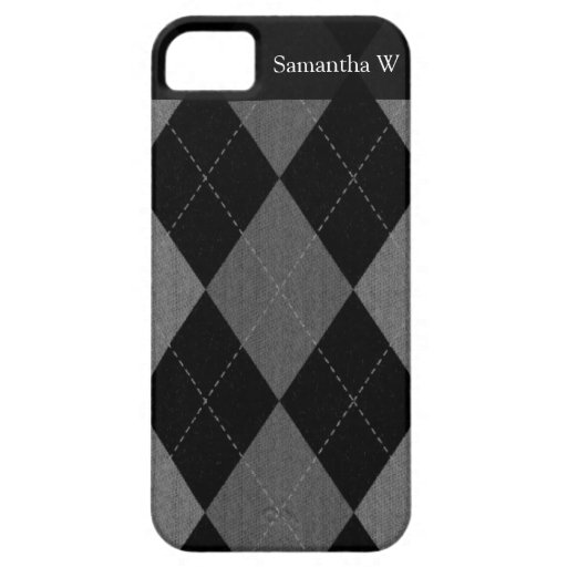 Negro y gris de carbón de leña Argyle Funda Para iPhone 5 Barely There