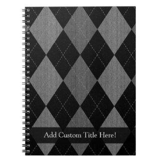 Negro y gris de carbón de leña Argyle Spiral Notebooks