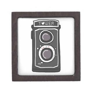 Negro y gris de la cámara del vintage caja de joyas de calidad