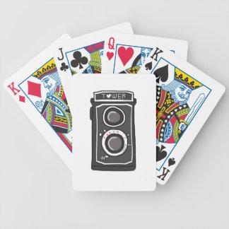 Negro y gris de la cámara del vintage cartas de juego