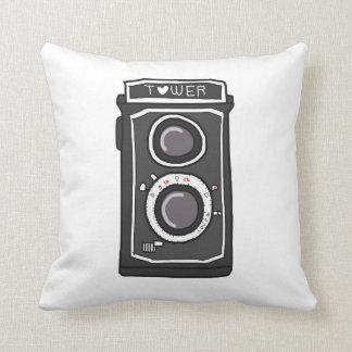 Negro y gris de la cámara del vintage cojín decorativo