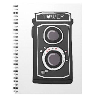 Negro y gris de la cámara del vintage libretas espirales