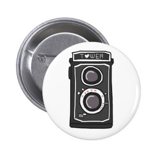 Negro y gris de la cámara del vintage pin redondo de 2 pulgadas