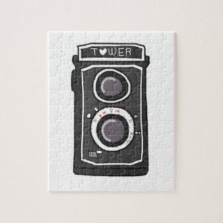 Negro y gris de la cámara del vintage puzzle con fotos