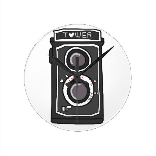 Negro y gris de la cámara del vintage relojes de pared