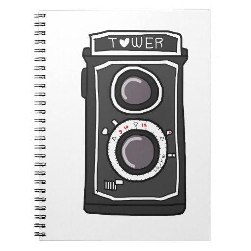 Negro y gris de la cámara del vintage spiral notebooks