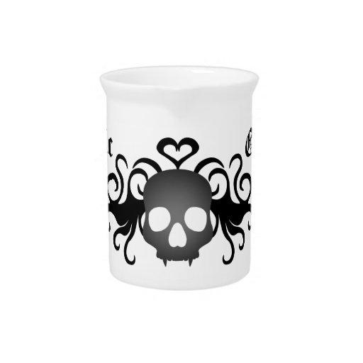 Negro y gris fanged góticos del cráneo jarras de beber