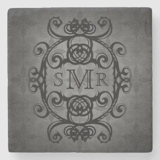 Negro y gris personalizados vintage del monograma posavasos de piedra