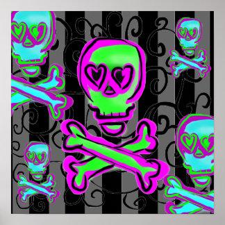 Negro y gris remolina con los cráneos de neón póster