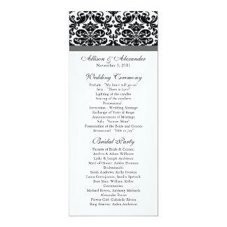 Negro y grises carbones del programa del boda del invitación 10,1 x 23,5 cm