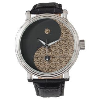 Negro y guepardo Ying Yang Reloj De Mano