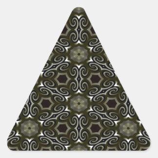 Negro y ilusión óptica del oro pegatina triangular