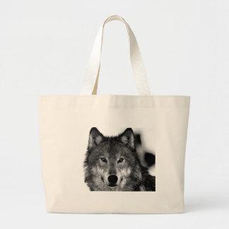 Negro y ilustraciones de White Wolf Bolsa Tela Grande