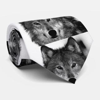Negro y ilustraciones de White Wolf Corbatas Personalizadas