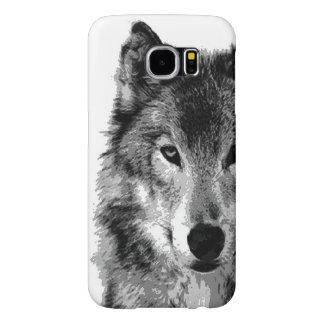 Negro y ilustraciones de White Wolf Funda Samsung Galaxy S6