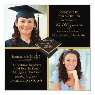 Negro y invitación de la graduación de la foto del