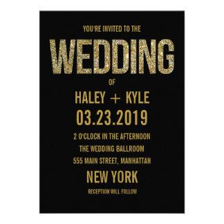 Negro y invitación del boda de la tipografía del b