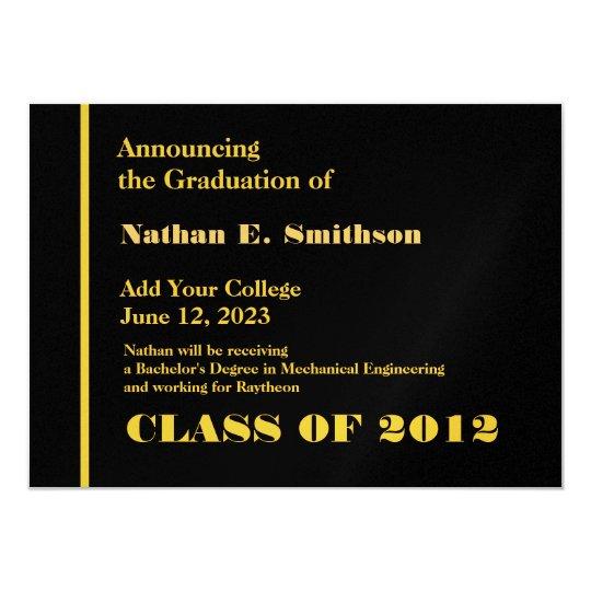 Negro y invitación del graduado del oro