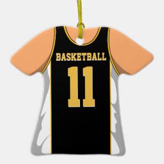 Negro y jersey 1 del baloncesto del oro adorno de cerámica en forma de playera