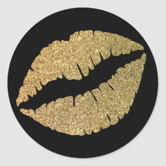 Negro y labios del brillo del oro pegatina redonda
