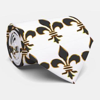 Negro y lazo de la flor de lis del oro corbatas