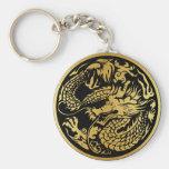 Negro y llavero chino del dragón del oro