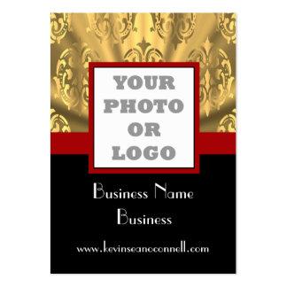 Negro y logotipo bling de la foto del oro tarjetas de visita grandes