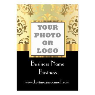 Negro y logotipo de la foto del damasco del oro tarjetas de visita grandes