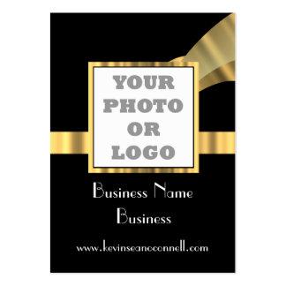 Negro y logotipo de la foto del oro tarjetas de visita grandes