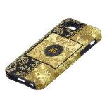 Negro y marco del oro con diseño floral iPhone 5 Case-Mate cárcasas