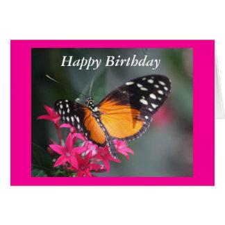 Negro y mariposa manchada naranja 2 tarjeta de felicitación