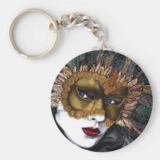 Negro y máscara del carnaval del oro por PSOVART Llaveros Personalizados