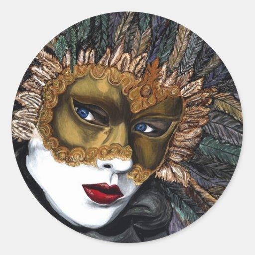 Negro y máscara del carnaval del oro por PSOVART Pegatinas Redondas