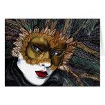 Negro y máscara del carnaval del oro por PSOVART Tarjeta