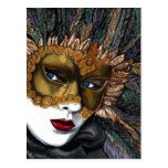 Negro y máscara del carnaval del oro por PSOVART Postal